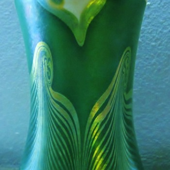 Kew Blas Iridescent Decorated Vase c.1890's. - Art Glass