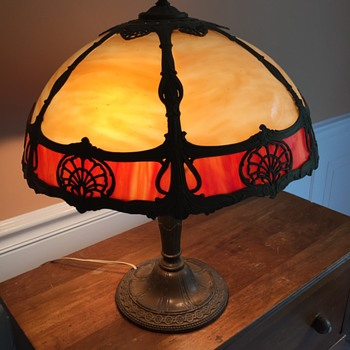 6 Panel Slag Glass Lamp