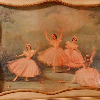 2 VINTAGE HAND PAINTED Ballerina Pictures - Creme&amp;Gold accent frames