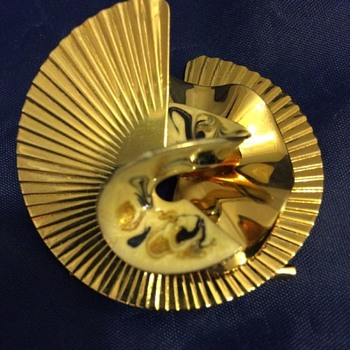 Swirl Fan and Enameled Brooch - Identify? - Costume Jewelry