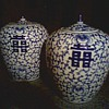 "Chinese Blue and White Porcelain ""Double Happiness"" Jars / Circa Mid- 20th Century"
