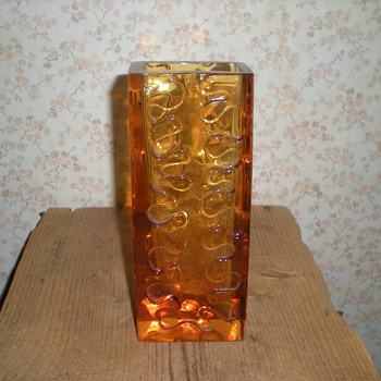 Bohemian amber glass vase 1960s. - Art Glass