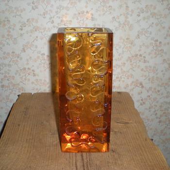 Bohemian amber glass vase 1960s.