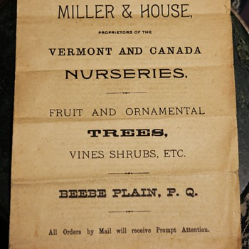 Miller & House Vermont and Canada Nurseries Instructions  - Paper