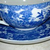 Asian Blue &amp; White Bird  Cup  &amp; Saucer 