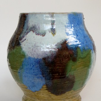 Crazy Beautiful Antique Japanese Vase~Wild/Abstract color & design, Signed~Look Familiar?