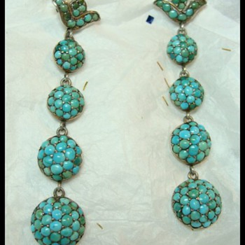 Victorian Pave Turquoise Earrings