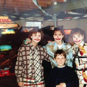 My friends and me as clowns with cool video games in the background 1988