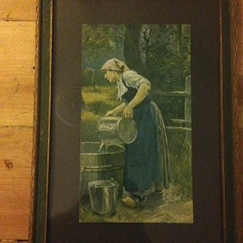 Nice old print of woman pouring water from metal bucket to wood barrel - Visual Art