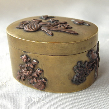 Antique Japan Mixed Metal Decorated Small Brass Box