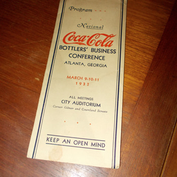 1933 Coca-Cola Bottlers Conference Program