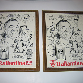 Mel Allen Ballantine Beer and Ale  AD plaque - Breweriana