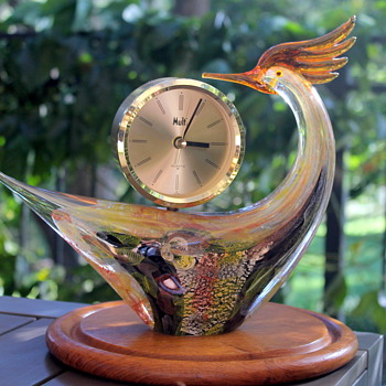 Multi Glass bird clock - Art Glass