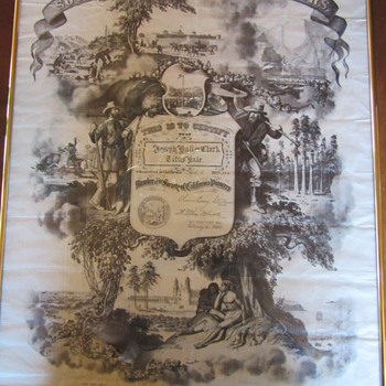 Society of California Pioneers  Certificate Nahl Bros Lithogragh