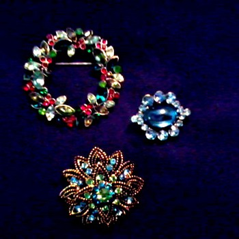 Three Mid-Century Brooch Pins - Costume Jewelry