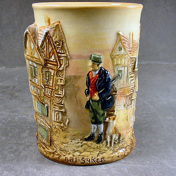 Doulton spill vase, Dickens relief ware, Bill Sykes and his dog.