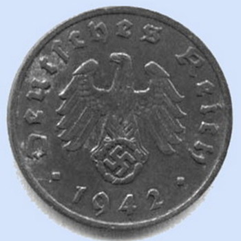 1942 Nazi Swastika coin WW2 1 Reichspfennig 'A' - Military and Wartime