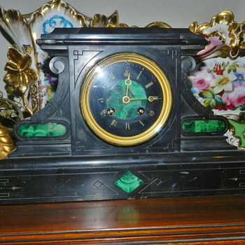 Art Deco Malachite Inlay Mantle Clock