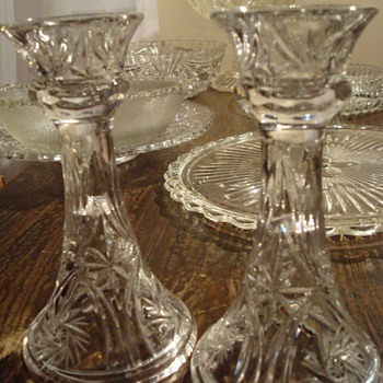 EAPG Candlesticks and Pitcher - Glassware