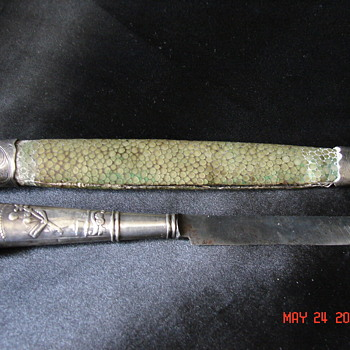 Strange Hallmarked Sterling Letter Opener With Dog Poodle And Green Skin Scabbard  - Sterling Silver