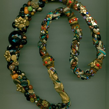 Crazy quilt jewelry necklace - Costume Jewelry
