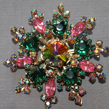 Multi Color Rhinestones Brooch - Costume Jewelry