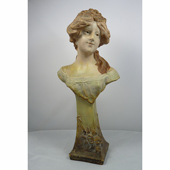 "A Pottery Bust ""JUGEND"" modeled by August Otto for Johann Maresch, 1903 - Art Nouveau"