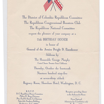 Republican Dinner 1966 in Washinton for Eisenhower - Military and Wartime