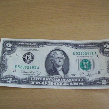 A Two Dollar Bill - US Paper Money