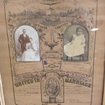 Antique Marriage Certificate  - Paper