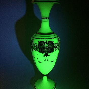 Massive Green Opaline Gilded Vase