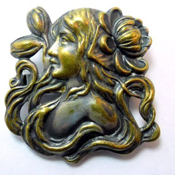 Art Nouveau Brass Brooch - Costume Jewelry