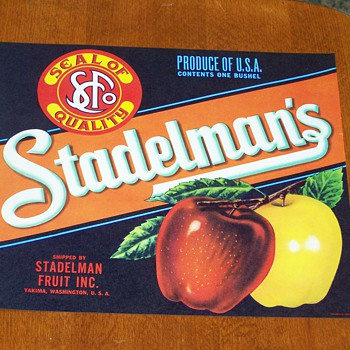 (NOS) New Old Stock - Stadelman's Apples Fruit Crate Label  - Advertising