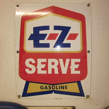 EZ Serve Porcelain Gasoline Pump Plate and DX Porcelain Face Plate Sign