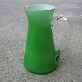 Mid-century green glass pitcher - Mid Century Modern