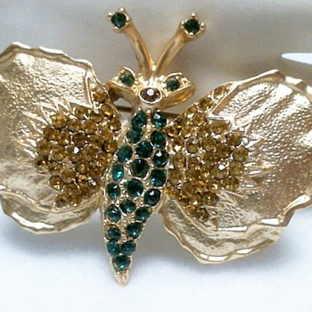 Dodds Emerald Green & Amber Stones Butterfly - Costume Jewelry