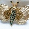 Dodds Emerald Green & Amber Stones Butterfly