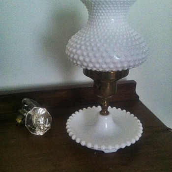Vintage Milk Glass Hobnail and Brass Lamp - Lamps