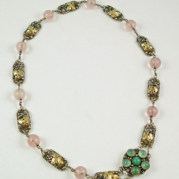 Arts & Crafts grape leaves necklace - Fine Jewelry