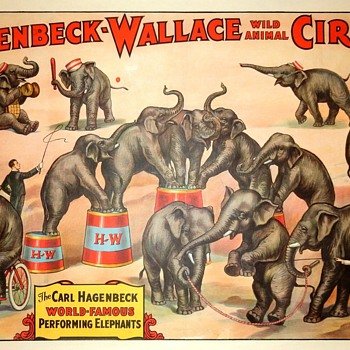 Hagenbeck Wallace: CARL HAGENBECK PERFORMING ELEPHANTS (c.1933)