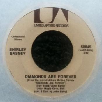 "Shirley Bassey - ""Diamonds Are Forever"" 45 Record"