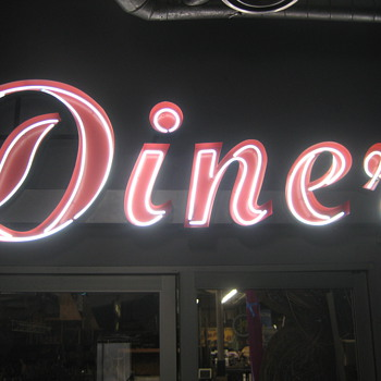Vintage 1950's Restored Neon DINER sign Aluminum channel GORGEOUS Antique - Signs