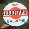 1930's Gulf Gasoline porcelain pump plate.