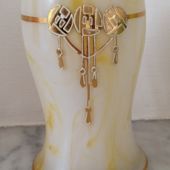 Late Victorian / Edwardian marbled enamelled and gilded satin glass vase