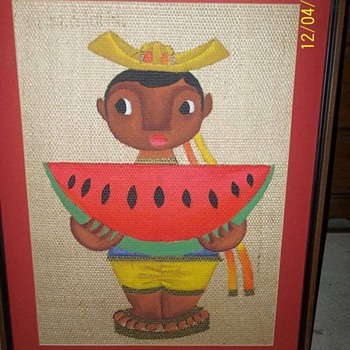 Burlap Painting(Black Americana?) - Folk Art