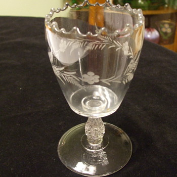 Spooner or Goblet with Flower & Fern Etching and Unusual Stem