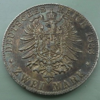 1883 German zwei mark (trench art) - World Coins