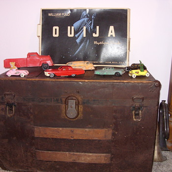 old trunk and quija board - Furniture