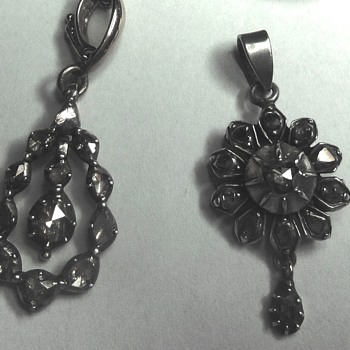 Gold silver set rose cut diamonds pendants