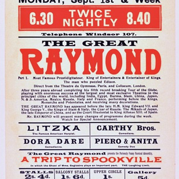 &quot;The Great Raymond&quot; Original 1913 Theatre Royal Broadside 